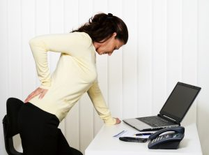 Back pain of the intervertebral disc at office work